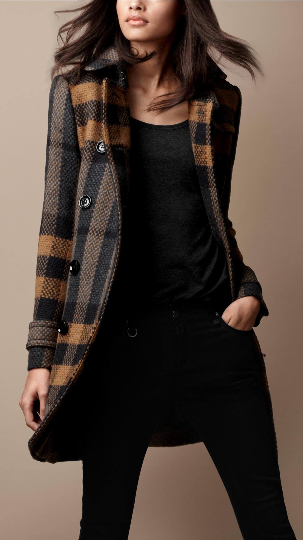 Burberry Brit Midlength Woven Check Wool Trench Coat In