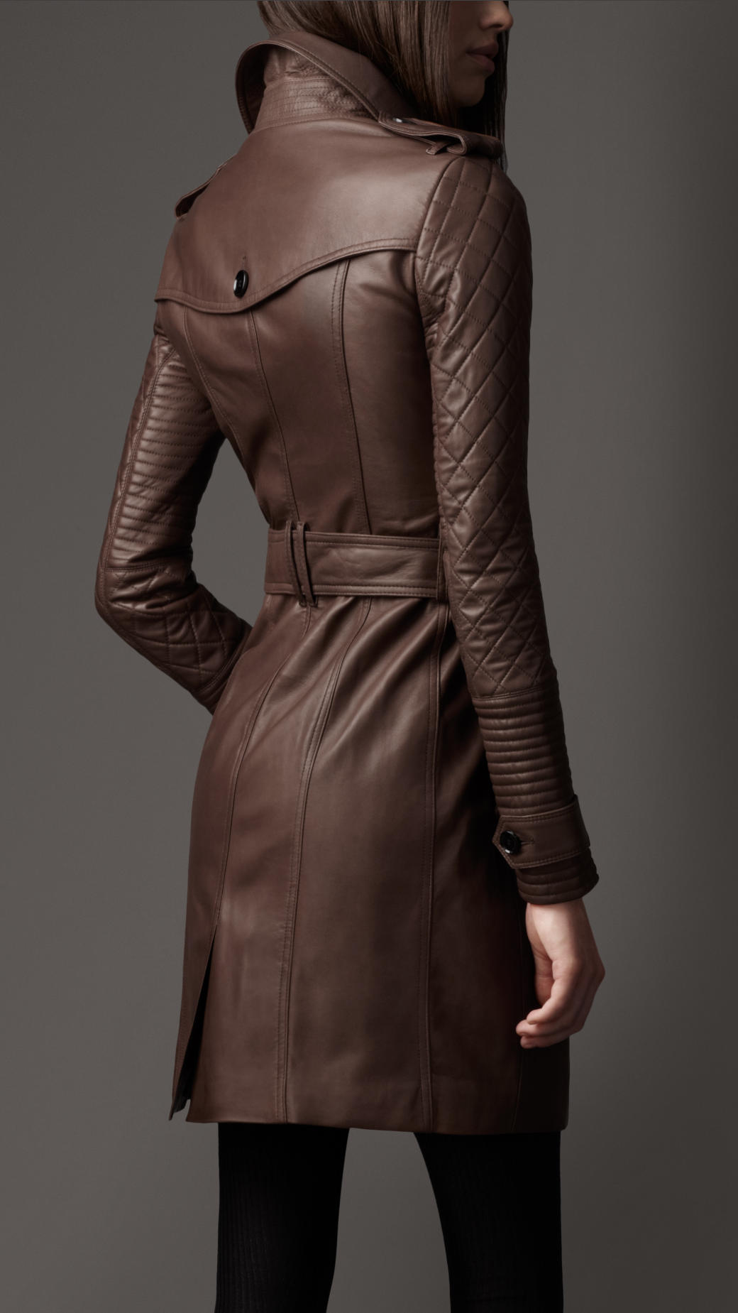 Lyst Burberry Long Leather Quilted Sleeve Trench Coat In