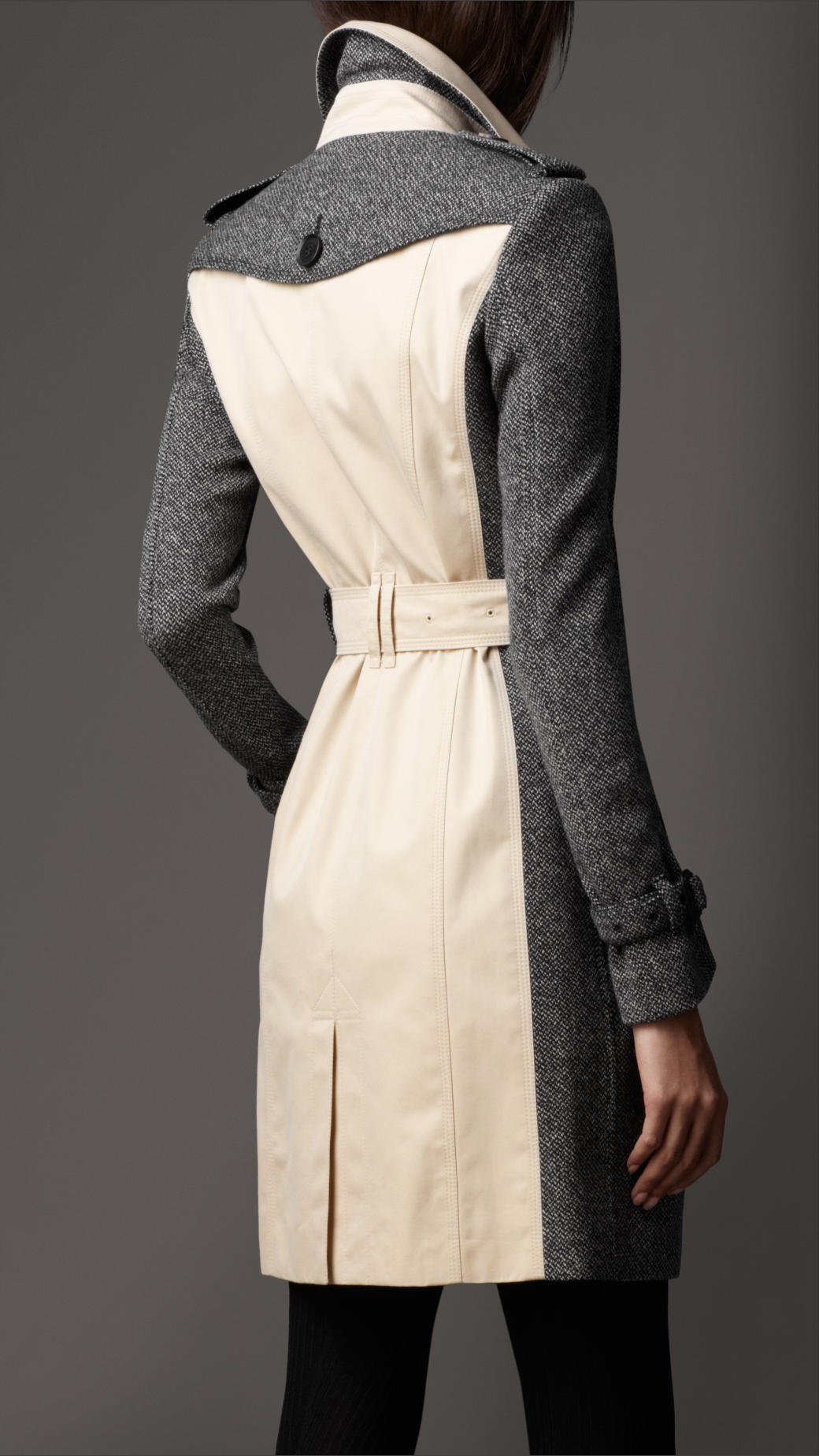 Lyst Burberry Long Tweed Panel Trench Coat In Gray