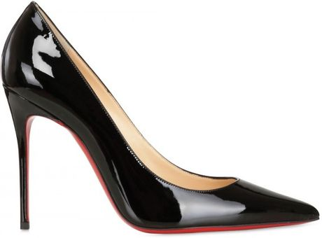 Christian Louboutin 100mm Decollete 554 Patent Pointy Pumps in Black