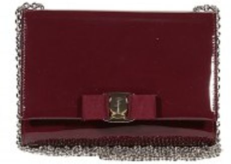 Ferragamo Eco Patent Leather Bow Long Chain Flap Bag in Red (bordeaux) - Lyst