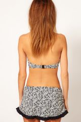 Freya Manhattan Skirted Bikini Bottom in Gray (blackprint) - Lyst