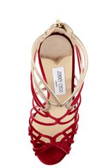Jimmy Choo Maury Velvet Leather Sandal in Red - Lyst