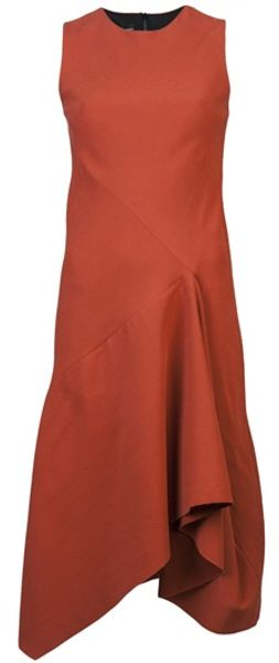 Narciso Rodriguez Asymmetric Dress in Brown (rust) - Lyst