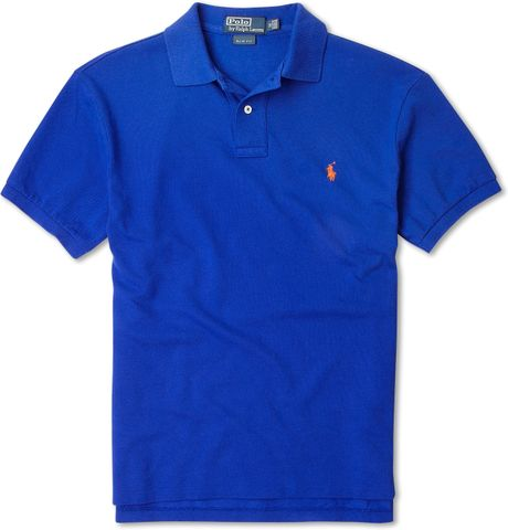 Polo Ralph Lauren Royal Blue Slim Fit Polo Shirt In Blue