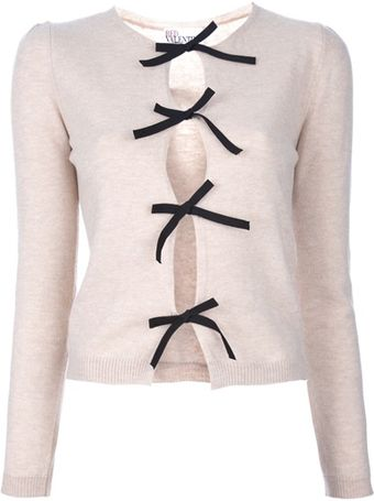 RED Valentino Bow Detail Cardigan - Lyst