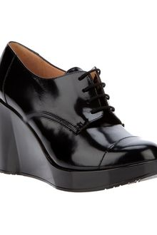 Robert Clergerie Patent Leather Wedge Lace Up Shoe - Lyst