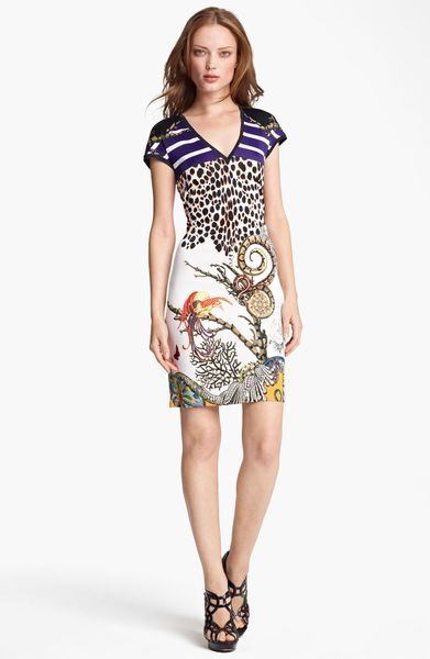 Roberto Cavalli Mixed Print Jersey Dress in Purple (purple orange print) - Lyst