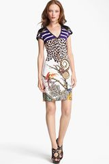 Roberto Cavalli Mixed Print Jersey Dress - Lyst