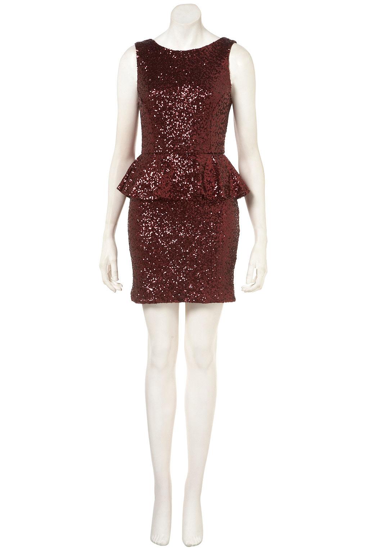 05bd2d9a TOPSHOP Sequin Peplum Dress in Red - Lyst