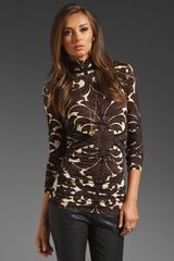 Tracy Reese Printed Jersey Turtleneck in Brown (chestnut formal) - Lyst