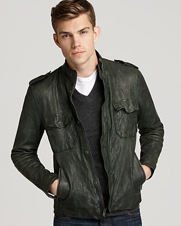Vince Leather Jacket in Green for Men | Lyst