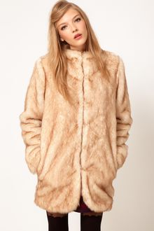 ASOS Collection Asos Longline Fur Coat - Lyst