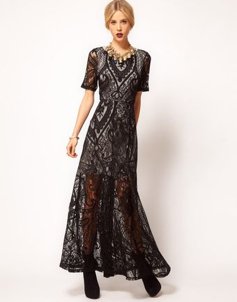 ASOS Collection Asos Maxi Dress with Lace Overlay - Lyst