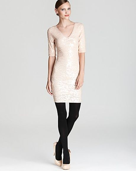 Bcbgmaxazria Dress V Neck Sequin in Pink (rose whisper) - Lyst