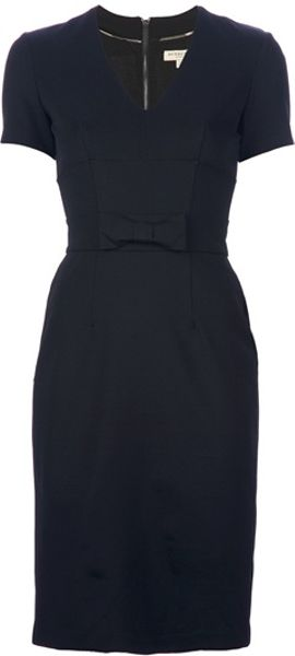 Burberry VNeck Dress in Black - Lyst