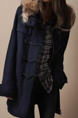 Burberry Brit Fur Trim Knitted Duffle Coat - Lyst