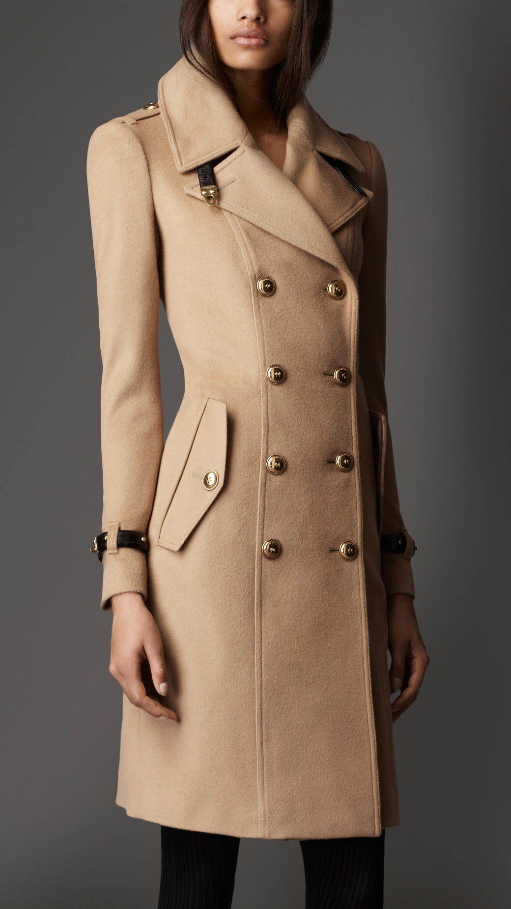 burberry leather detail wool cashmere coat in beige camel lyst. Black Bedroom Furniture Sets. Home Design Ideas