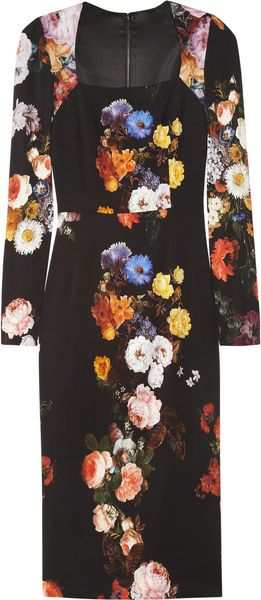 Dolce & Gabbana Floral-print Stretch-crepe Dress - Lyst