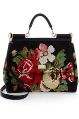 Dolce & Gabbana Miss Sicily Wool Tapestry and Leather Tote - Lyst