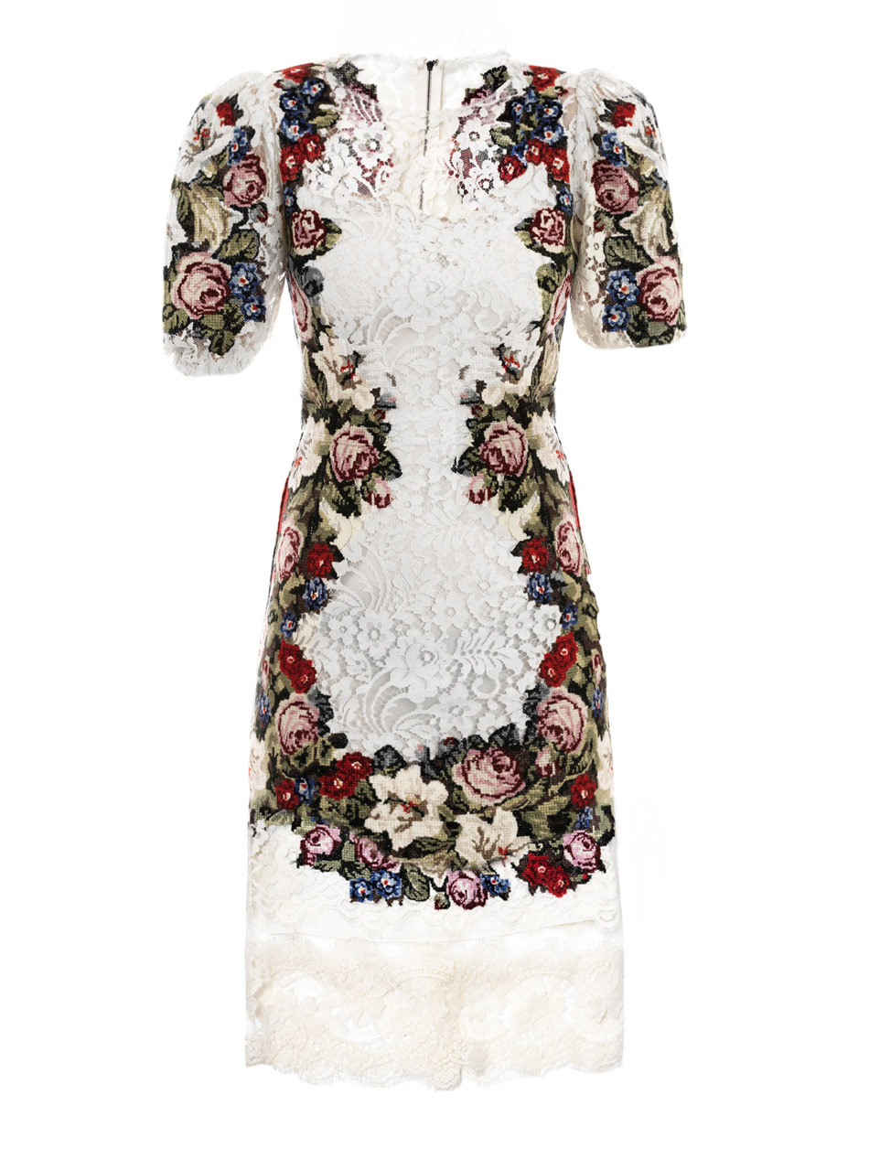 Dolce gabbana embroidered lace dress in white lyst