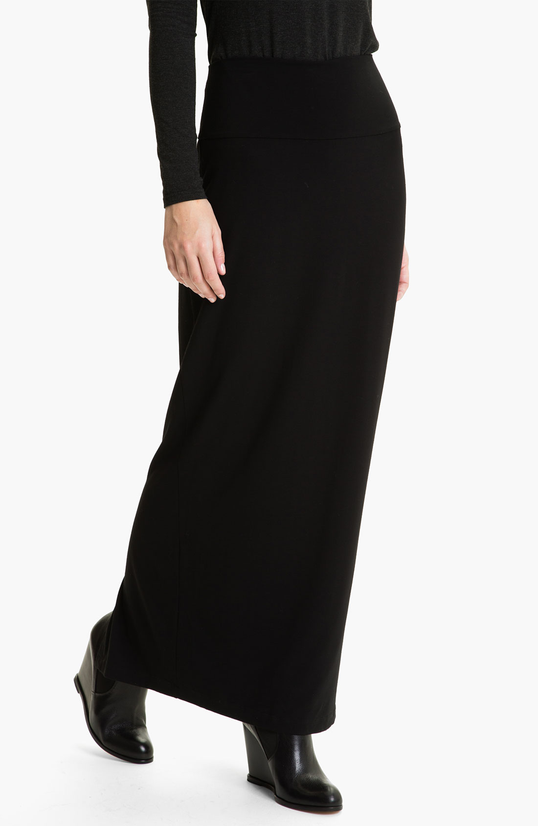 eileen fisher jersey maxi skirt in black lyst