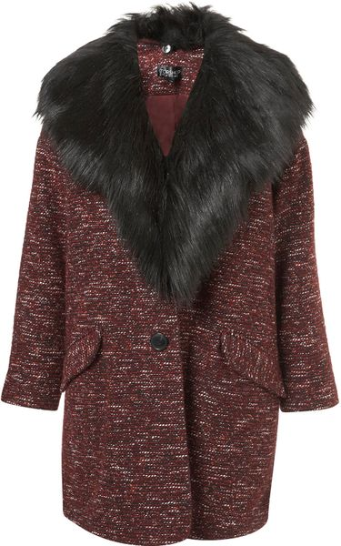 Topshop Textured Fur Collar Boyfriend Coat in Red (burgundy)
