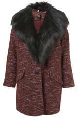 Topshop Textured Fur Collar Boyfriend Coat in Red (burgundy) - Lyst