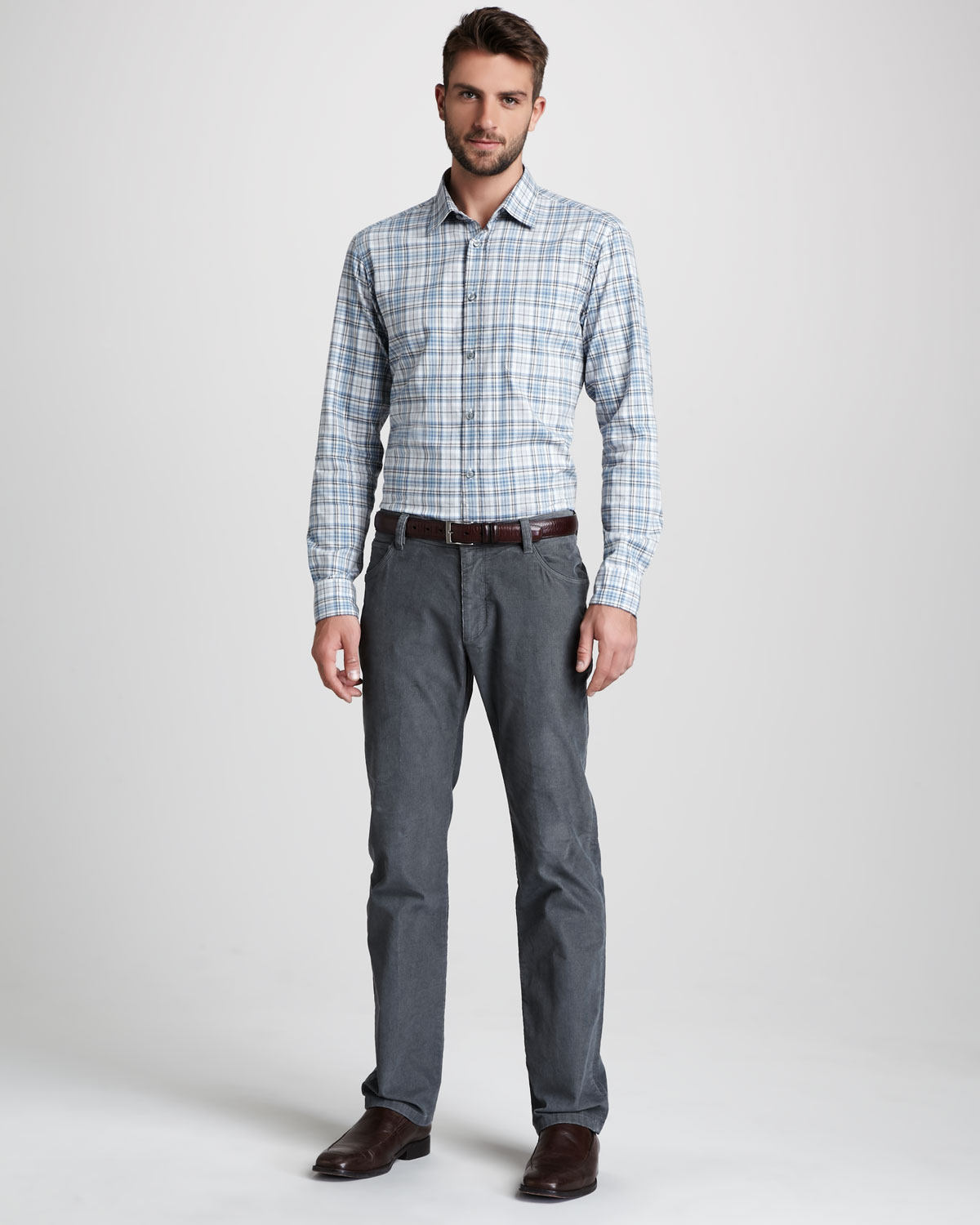Zegna sport Corduroy Pants in Gray for Men | Lyst