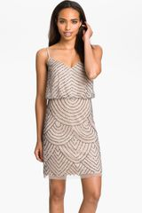 Adrianna Papell Sequined Mesh Blouson Dress - Lyst