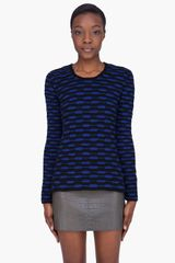Edun Blue Zebra Stripe Crochet Knit Sweater - Lyst