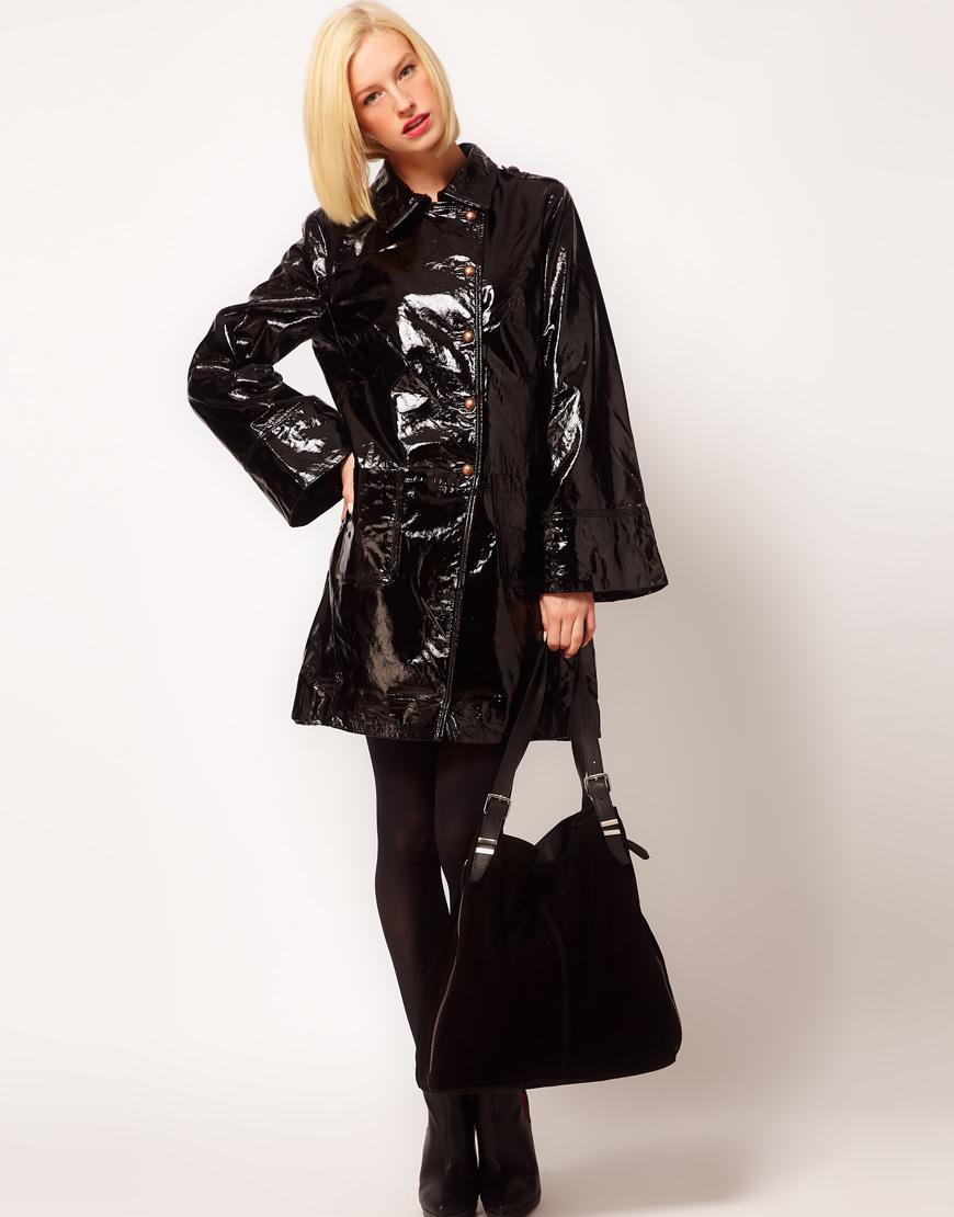 d54c69188490 Lyst - Sophia Kokosalaki Patent Leather Trench in Black