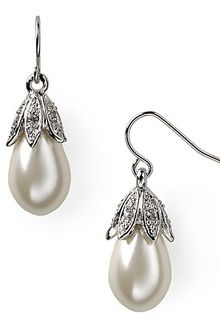 Lauren by Ralph Lauren Pearl and Crystal Drop Earrings - Lyst