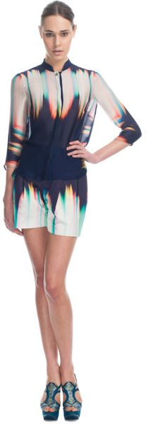 Matthew Williamson Sunburst Ink Tailoring Nehru Shirt in Blue (ink) - Lyst