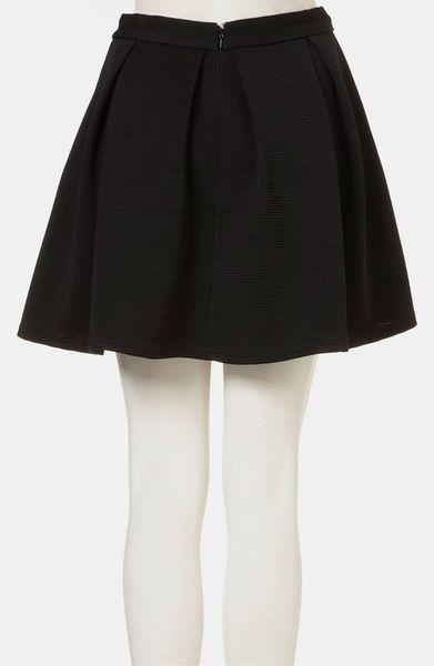 topshop pleated ribbed skater skirt in black lyst