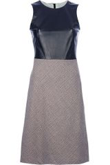 Alexander Mcqueen Leather Detail Dress in Black - Lyst