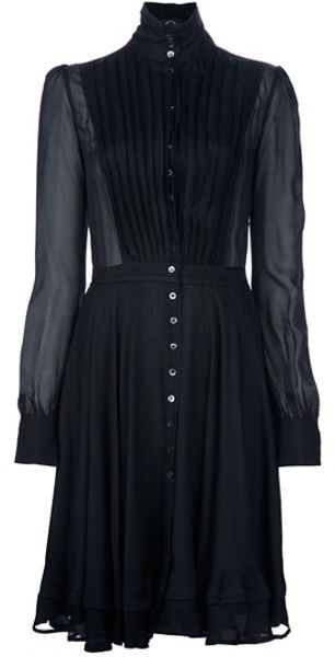 Alexander Mcqueen Sheer Pleat Dress in Black