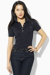 Ralph Lauren Fine Ribbed Short Sleeve Polo Shirt - Lyst
