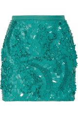 Antonio Berardi Pailetteembellished Crepe Mini Skirt in Green (sea) - Lyst