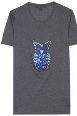 Burberry Prorsum Embellished Tshirt in Gray (charcoal) - Lyst