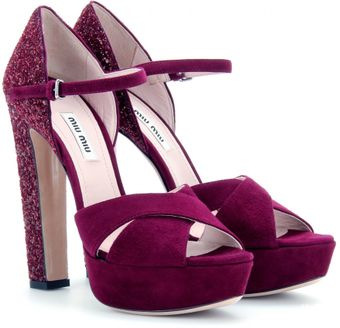 Miu Miu Suede Sandals with Glitter Heel - Lyst