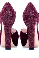 Miu Miu Suede Sandals with Glitter Heel in Purple (bordeaux) - Lyst
