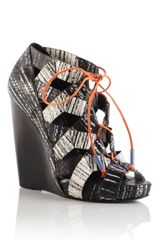 Pierre Hardy Ss Zig Zag Wedge in Black (black/white) - Lyst