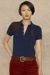 Ralph Lauren Blue Label Leather Pony Patch Polo - Lyst