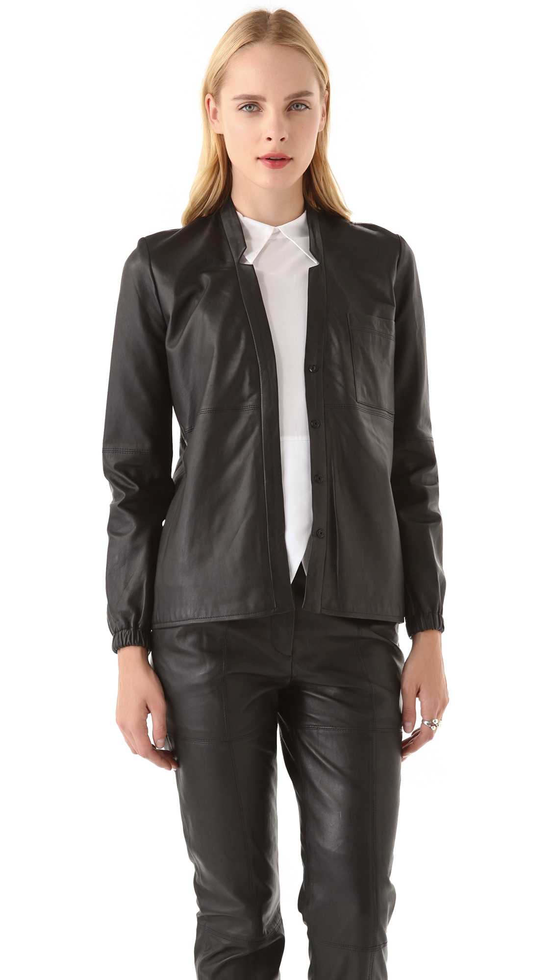 Lyst - Yigal Azrouël Leather Blouse in Black