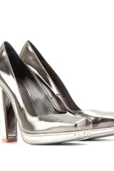 Saint Laurent Tabita 105 Mirrored Platform Pumps in Silver (gunmetal) - Lyst