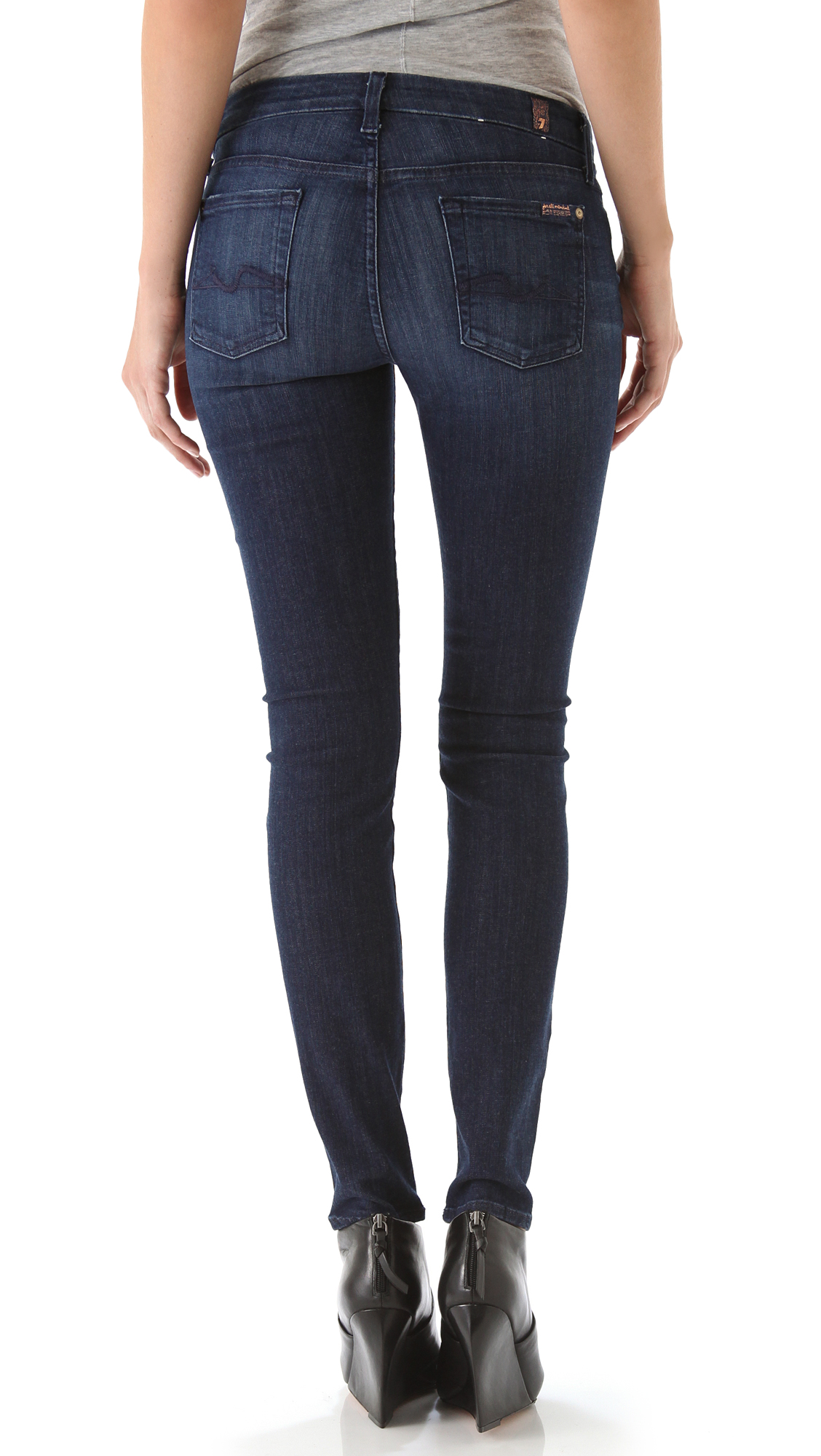 lyst 7 for all mankind kimmie cropped jeans in blue. Black Bedroom Furniture Sets. Home Design Ideas
