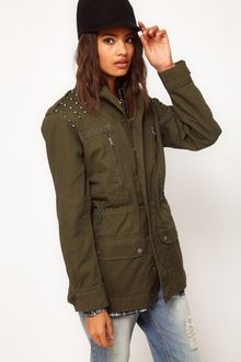 ASOS Collection Asos Army Jacket with Studded Shoulder - Lyst
