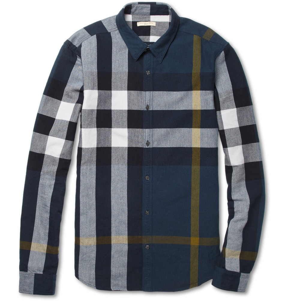 Burberry brit large plaid brushed cotton shirt in blue for for Burberry brit checked shirt