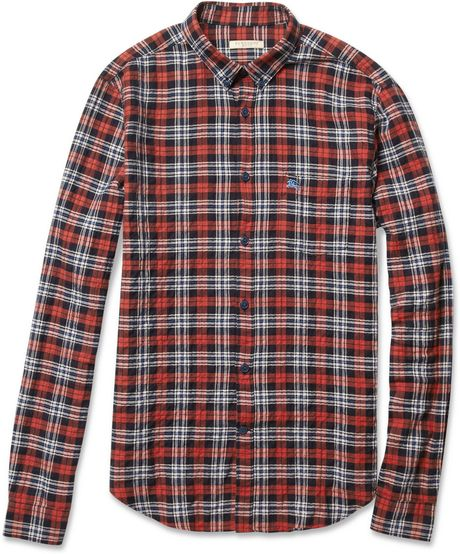 Burberry Brit Textured Cottonblend Plaid Shirt In Red For